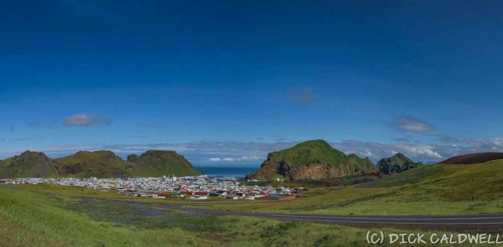 The city and harbor at Vestmannaeyjar Island