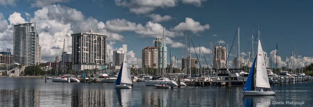 St Petersburg, FL marina, waterfront and city