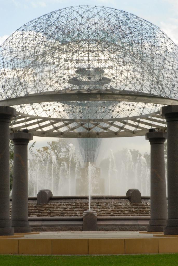 The fountain through the gazebo