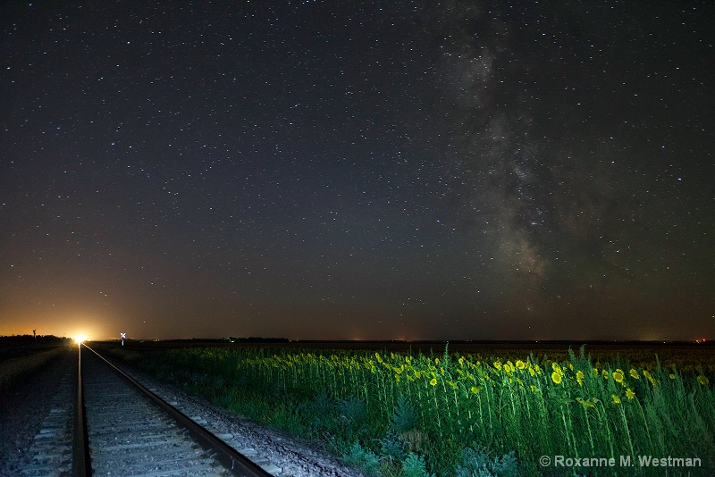 Incoming train and milky way