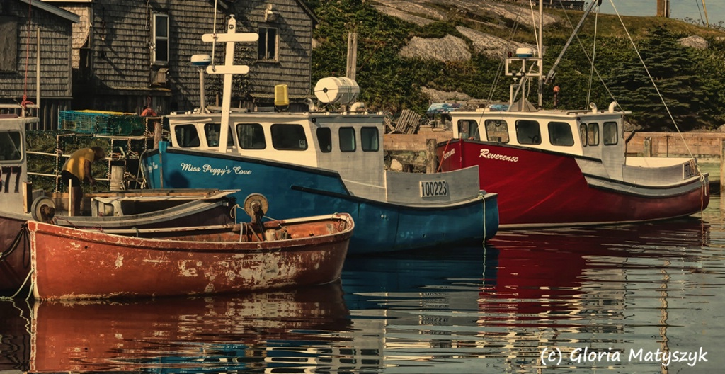 Close up of boats at Peggy's Cove, Canada