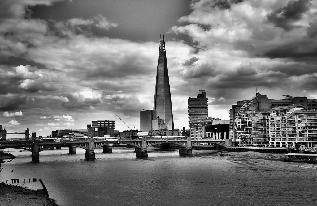 Shard and the Thames Monochrome