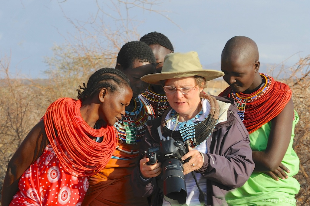 Showing the Samburu Women Pictures on the Camera