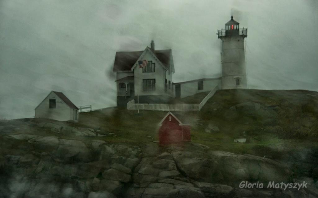 Nubble Lighthouse in the rain.Cape Neddick, Maine