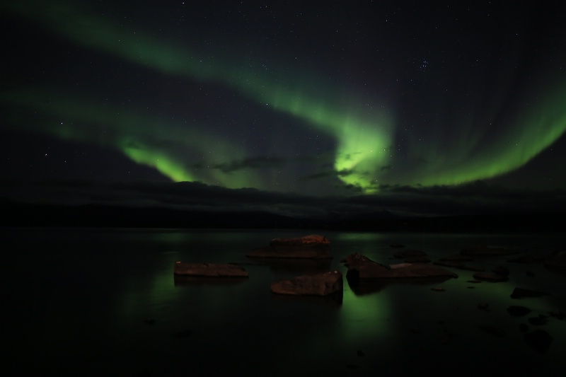 Aurora on Rocks