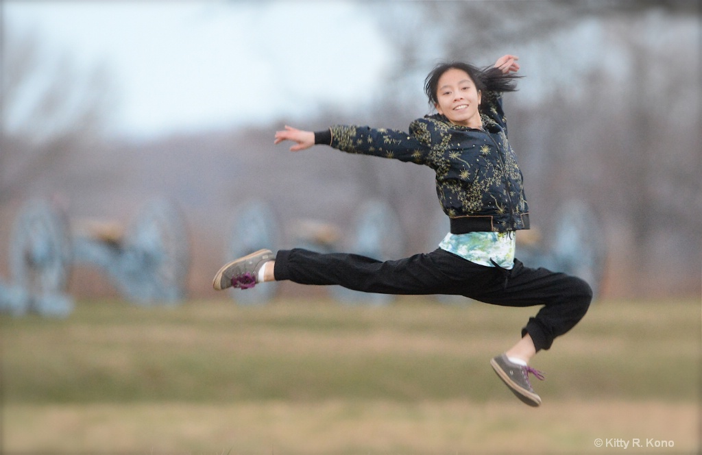 Yumiko Leaping in Valley Forge