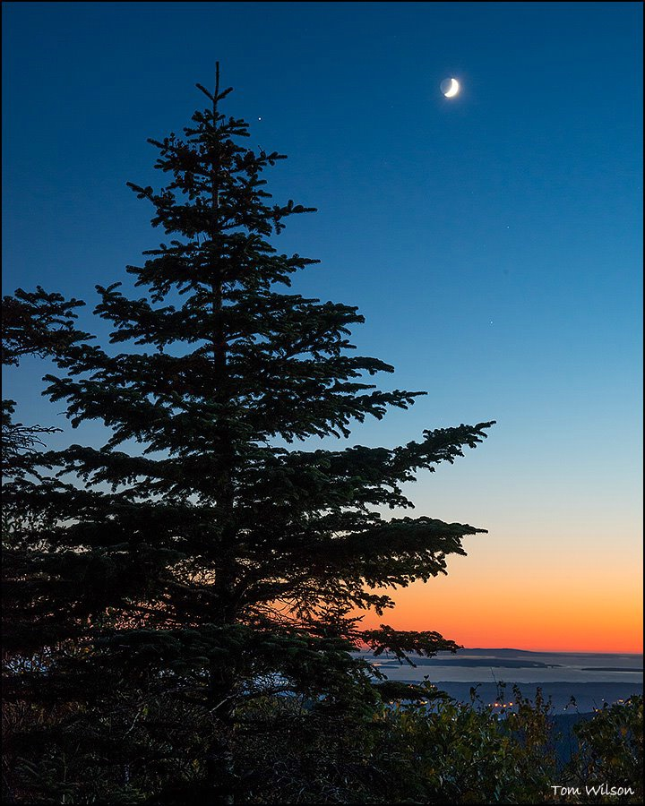Vanus and Moon from Cadillac Mountain at Dusk