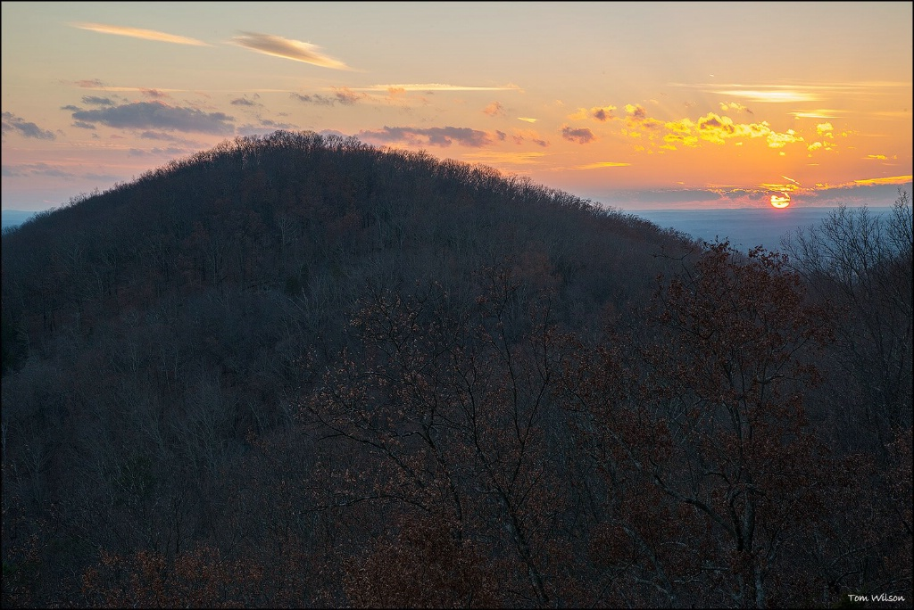 Sunset Behind Little Kennesaw Mountain in Winter