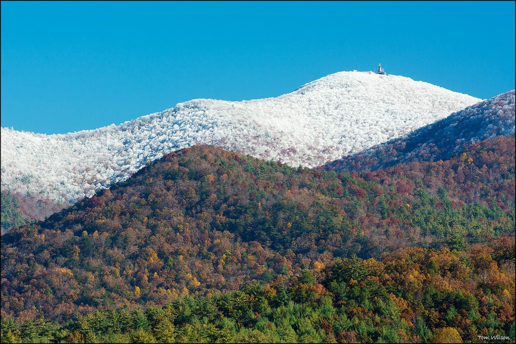 Fall view of Brasstown Summit with Snow