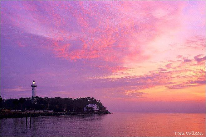 Saint Simons Lighthouse under a Pink Sky