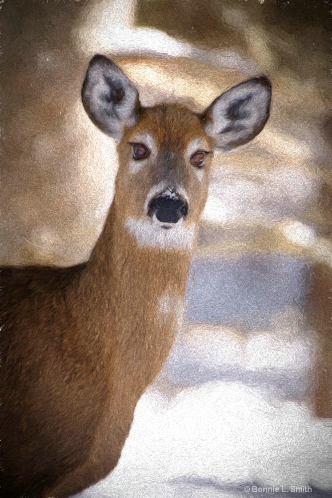 Deer in Winter Painting 1 of 1