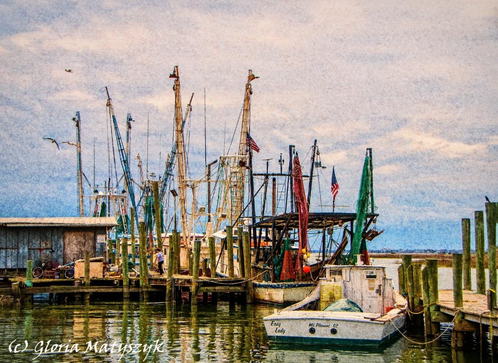 Charleston fishing boats.  Texture overlay.