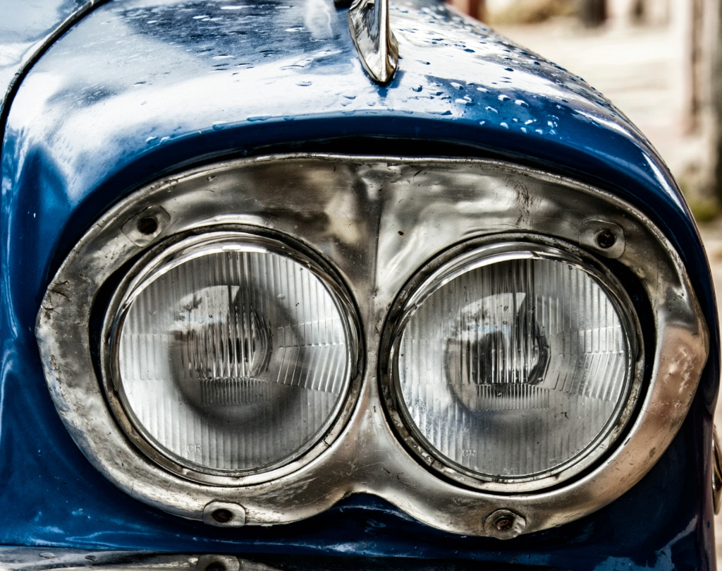 Headlight in an old car; Cojimar, Havana, Cuba