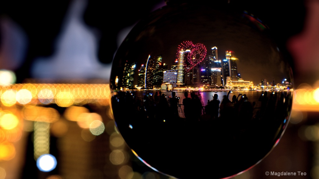 Singapore city skyline in a glass crystal ball