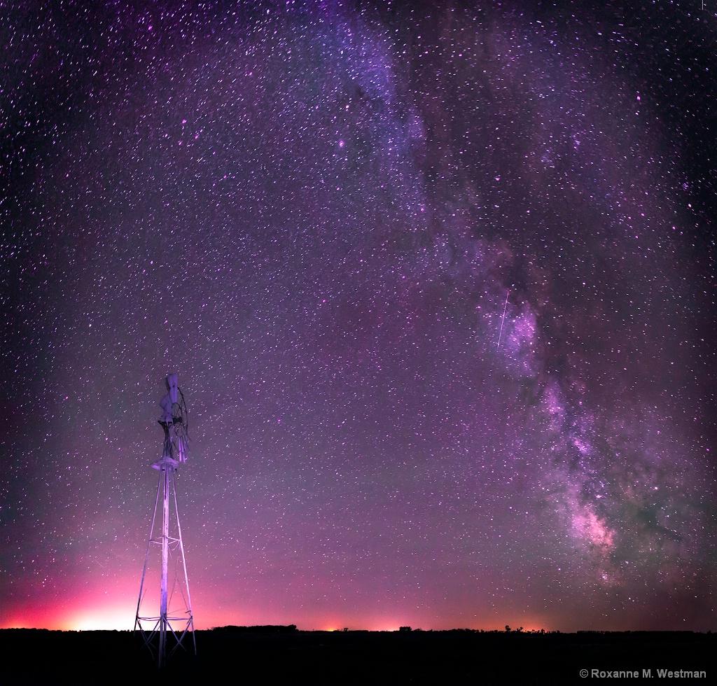 North Dakota windmill under the Milky Way