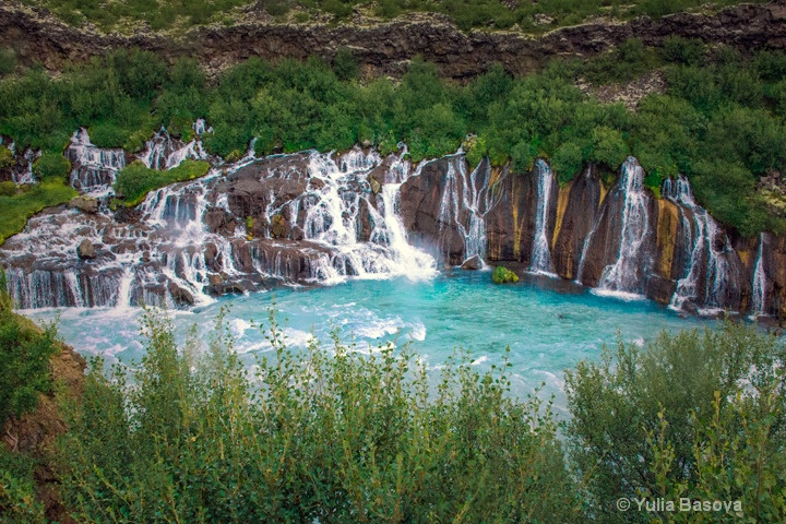 Hraunfossar. The Lava Field Waterfall, Iceland<p>