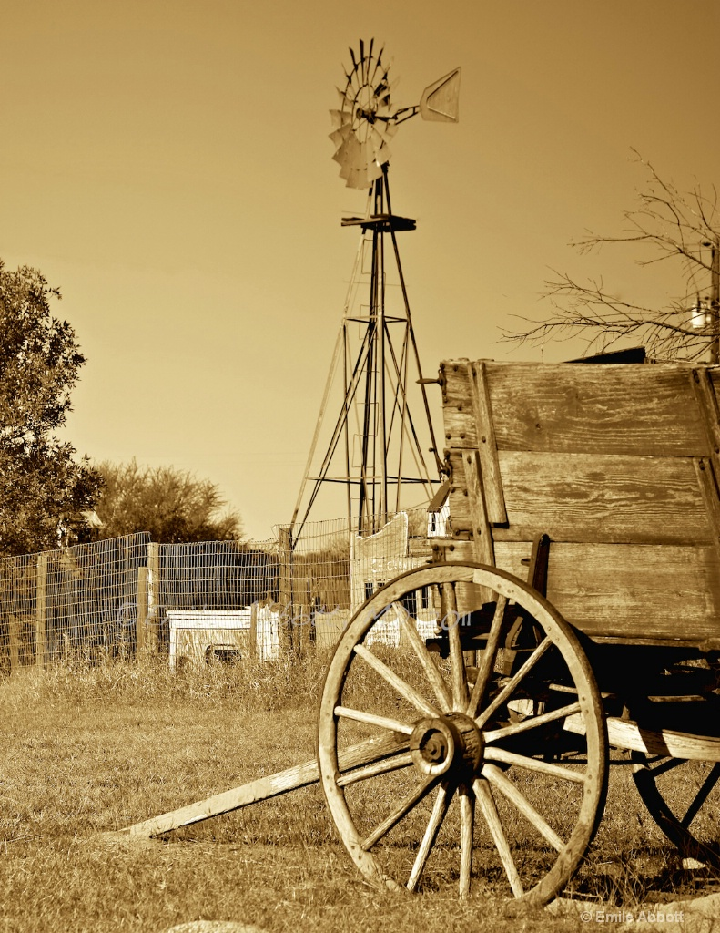 wagon and windmill