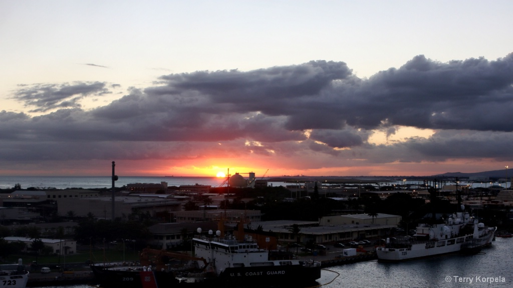 Sunset from Honolulu, Hawaii.   Harbor