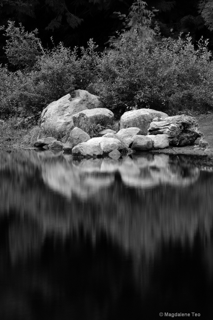 BnW series in Portland - Rocks Reflection