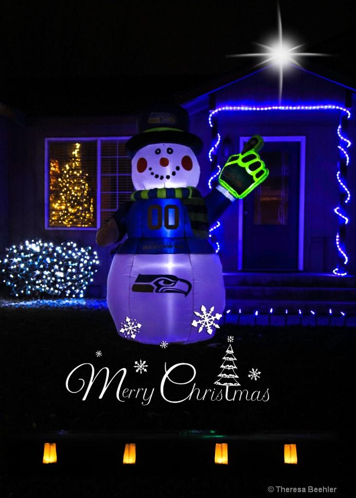 Christmas Lights - Seahawk Snowman