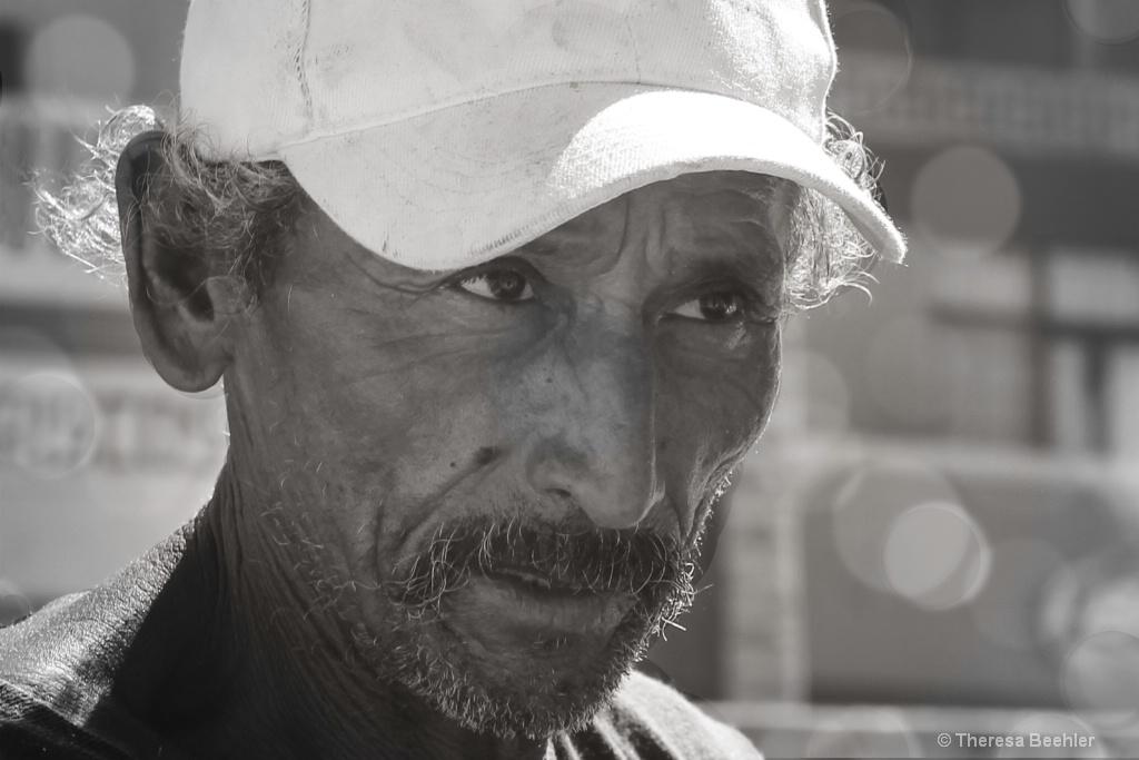Hard Working Fisherman - Black and White