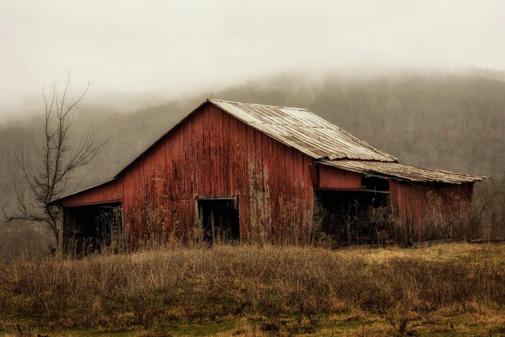 Red Barn in Rain II
