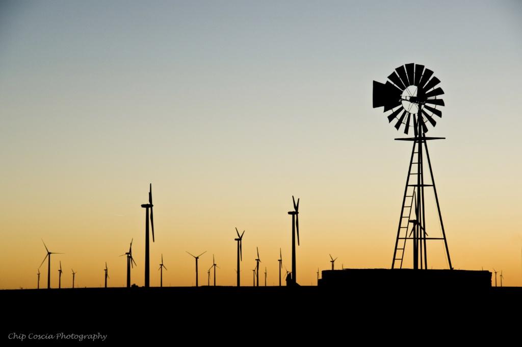 Sunset And Wind Turbines