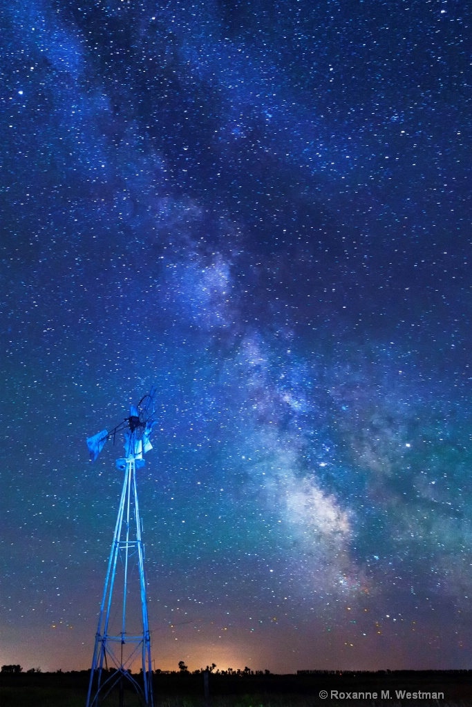 Milky Way over the North Dakota windmill