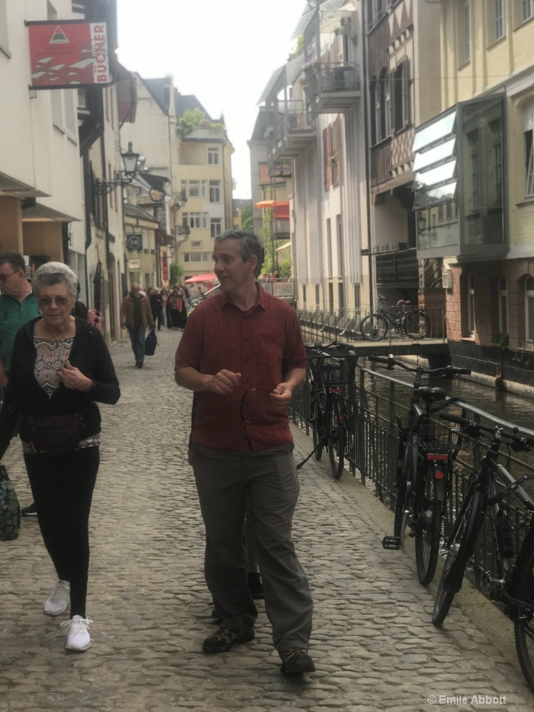 Wife and son in streets of Freiburg, Germany