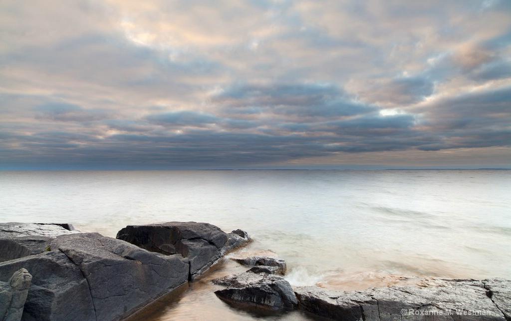 Orange cloud sunrise on Lake Superior