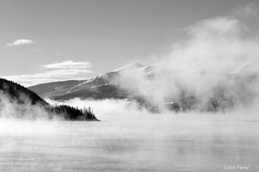 low clouds on lake dillon