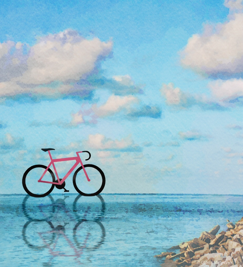 Bicycle on the water.  Composite and manipulation