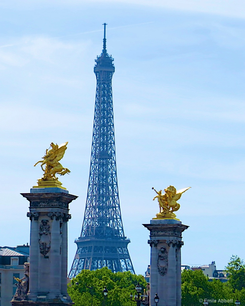 Eiffel Tower and Golden Winged Horses
