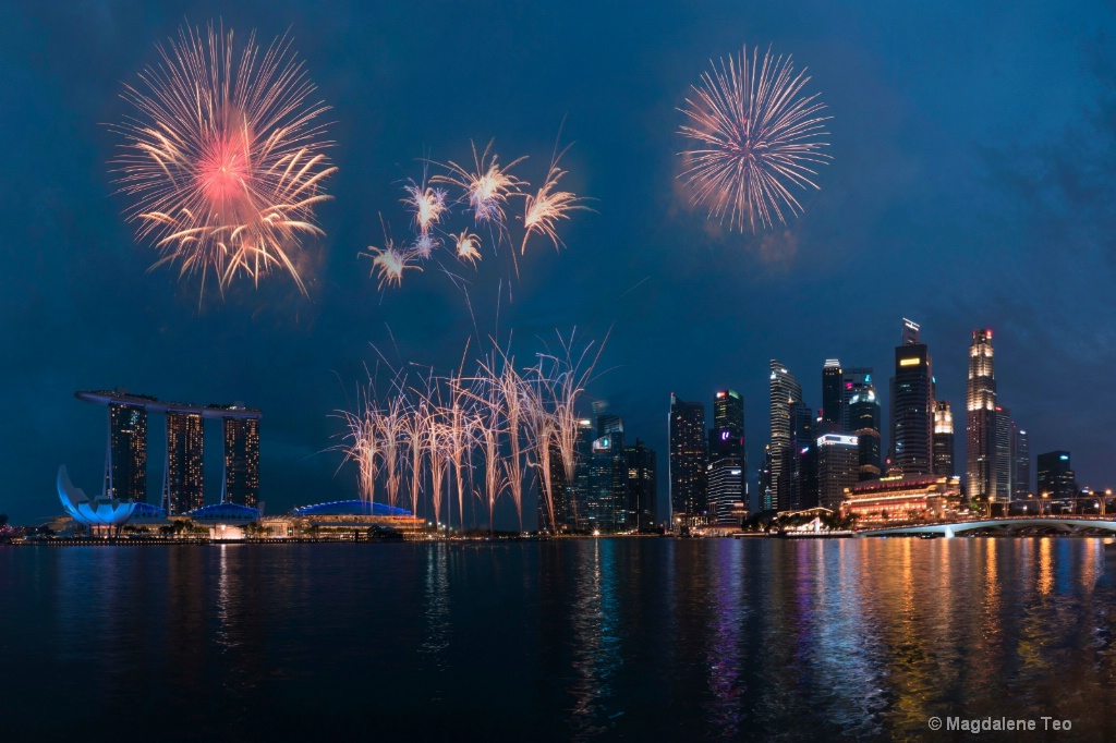 Panorama of Singapore Skyline with Fireworks