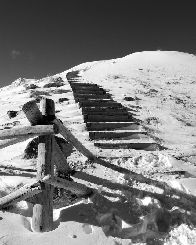loveland pass stairs in black and white