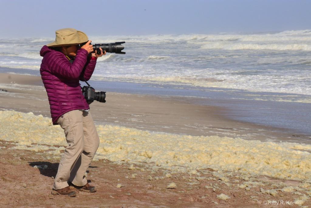 Kitty Taking Photo of Ship Wreck on Skeleton Coast
