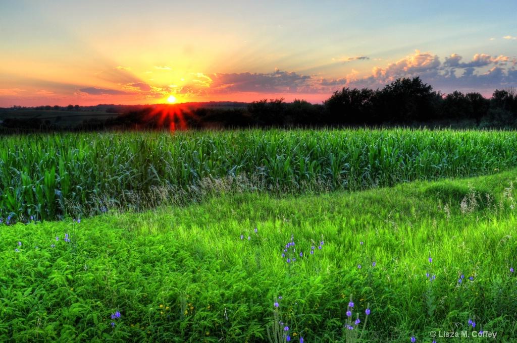 Plattsmouth sunset in the deep summer