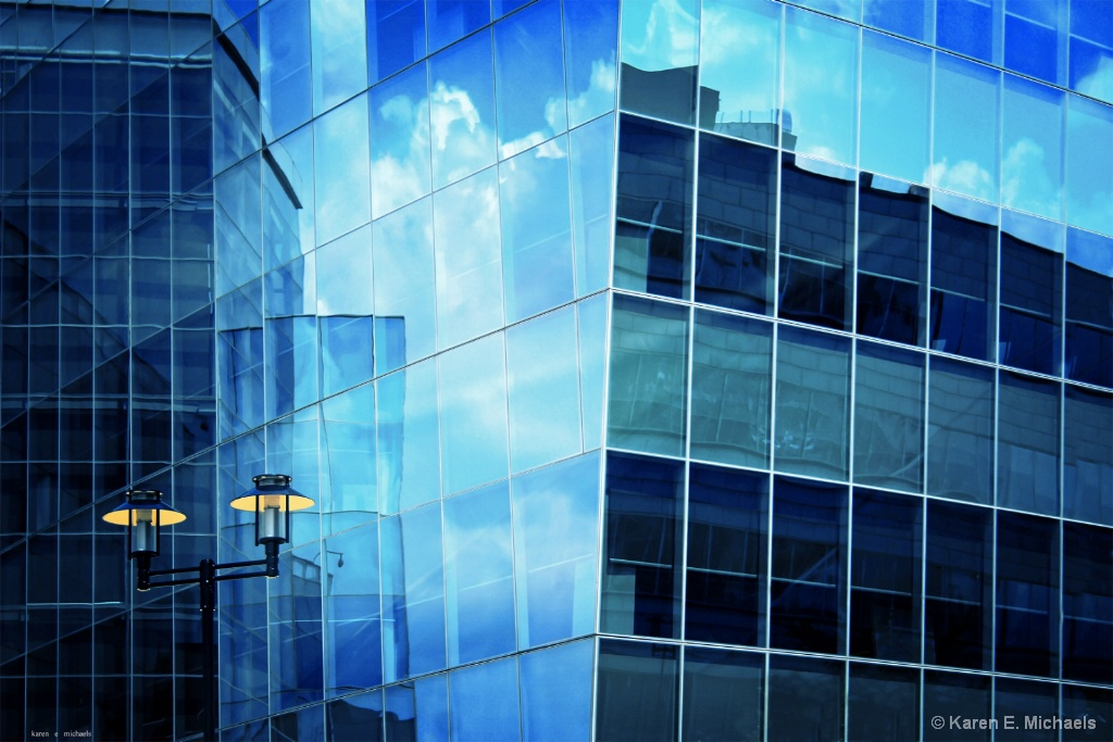 Blue Reflections Yellow Lights