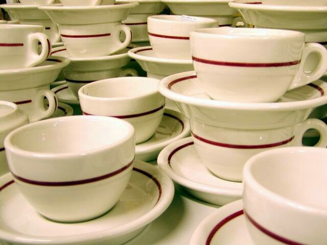 Cups and Saucers in Antique Shop