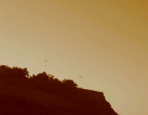 paragliders over cliffs