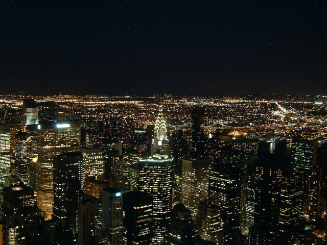 Midtown East and Queens at night