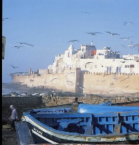 Sunset Oshura-Blue Boatand Fort