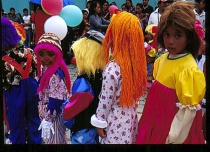 Children in colored costumes, Guatamala