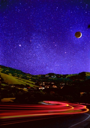 Lucas Valley, the Moon, Auriga