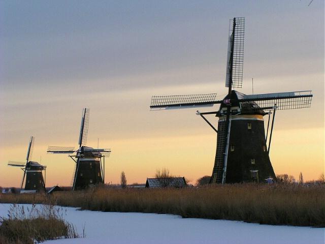 Dutch Mills at Sunset