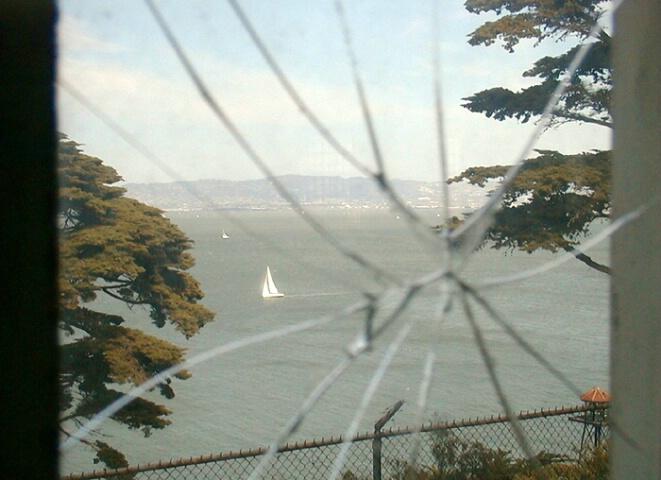 San Francisco Bay from inside Alcatraz prison