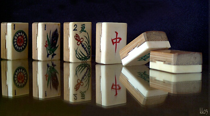 Antique Ivory & Bamboo Maejong Pieces