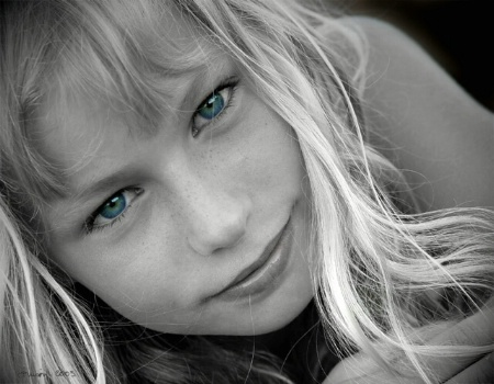 Blond hair, blue eyes