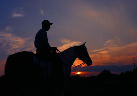 Paul and his Horse at Sundown