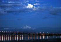 Moon over san francisco bay